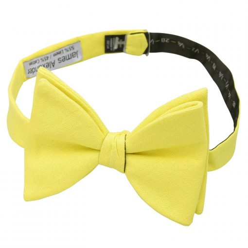 Daffodil Yellow Hopsack Linen Butterfly Self Tie Bow Tie