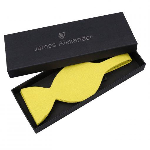 Daffodil Yellow Hopsack Linen Butterfly Self Tie Bow Tie
