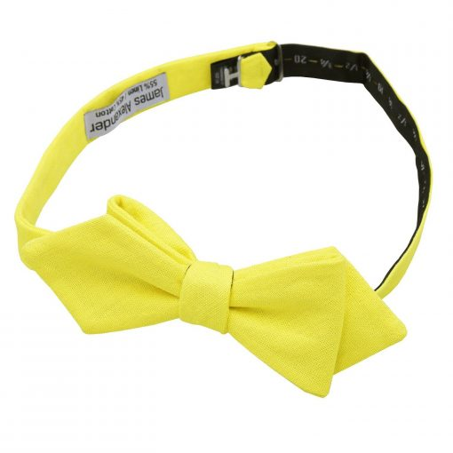 Daffodil Yellow Hopsack Linen Pointed Self Tie Bow Tie