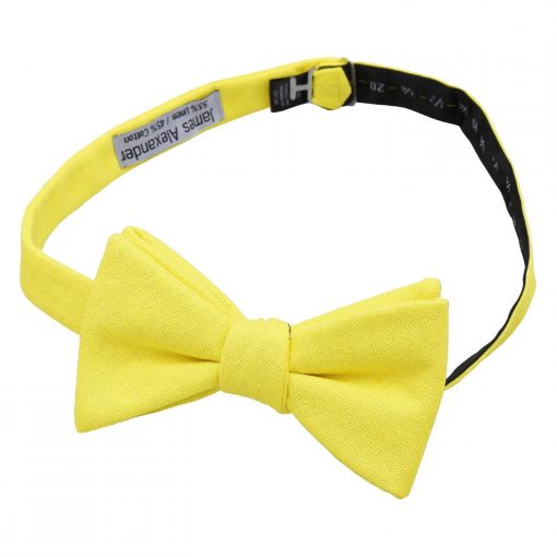 Daffodil Yellow Hopsack Linen Thistle Self Tie Bow Tie