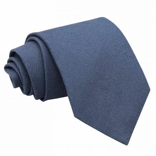 Dark Blue Hopsack Linen Classic Tie