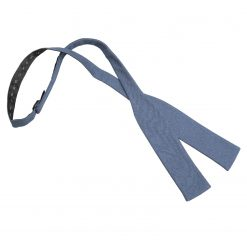 Dark Blue Hopsack Linen Batwing Self Tie Bow Tie
