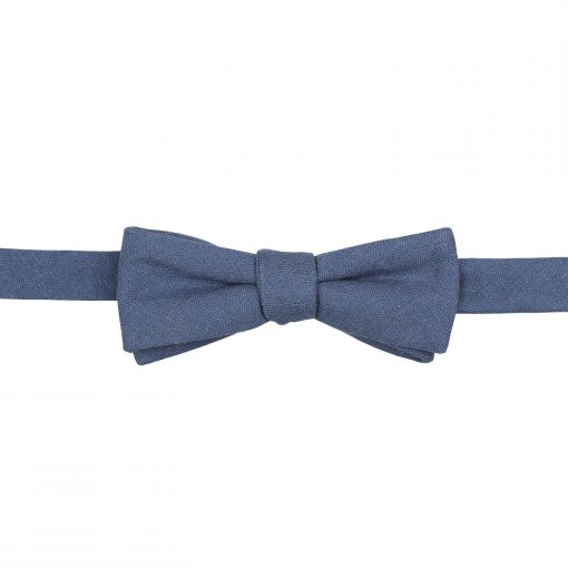 Dark Blue Hopsack Linen Batwing Self Tie Bow Tie