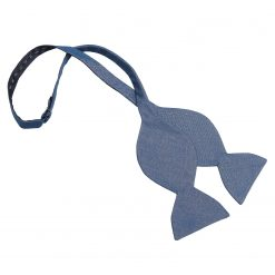 Dark Blue Hopsack Linen Butterfly Self Tie Bow Tie