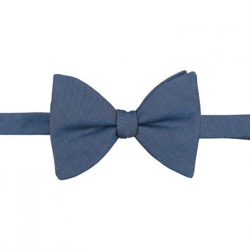 Dark Blue Hopsack Linen Butterfly Self Tie Bow Tie