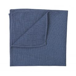 Dark Blue Hopsack Linen Pocket Square