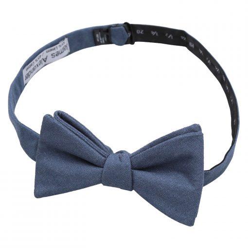 Dark Blue Hopsack Linen Thistle Self Tie Bow Tie