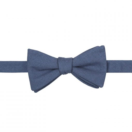 Dark Blue Hopsack Linen Thistle Self Tie Bow Tie