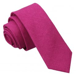 Dark Fuchsia Hopsack Linen Skinny Tie