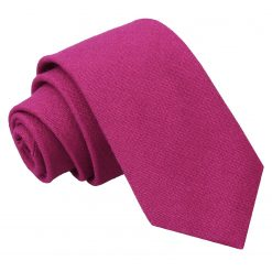 Dark Fuchsia Hopsack Linen Slim Tie
