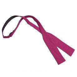 Dark Fuchsia Hopsack Linen Batwing Self Tie Bow Tie