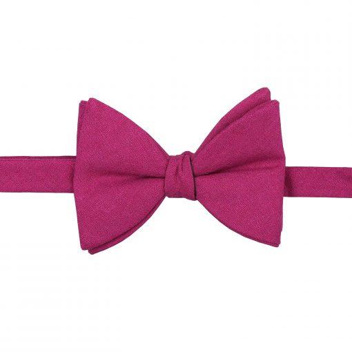 Dark Fuchsia Hopsack Linen Butterfly Self Tie Bow Tie