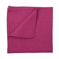 Dark Fuchsia Hopsack Linen Handkerchief / Pocket Square
