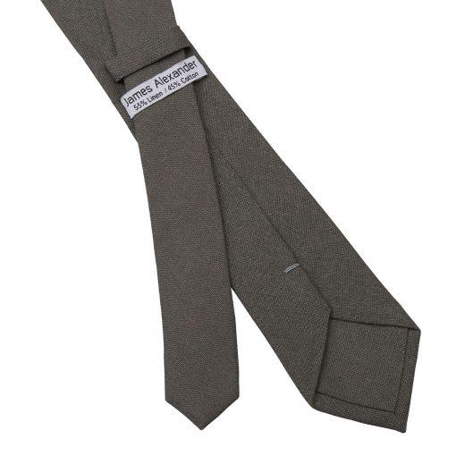 Dark Olive Hopsack Linen Skinny Tie