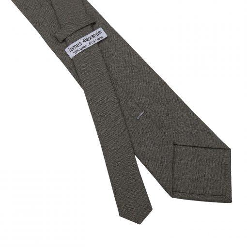 Dark Olive Hopsack Linen Slim Tie