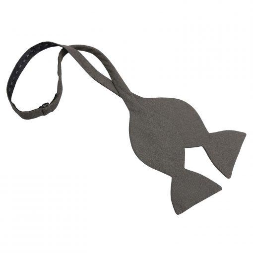 Dark Olive Hopsack Linen Butterfly Self Tie Bow Tie