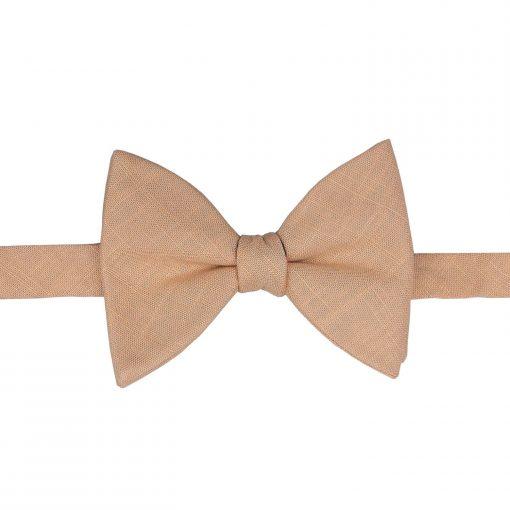 Gold Hopsack Linen Butterfly Self Tie Bow Tie