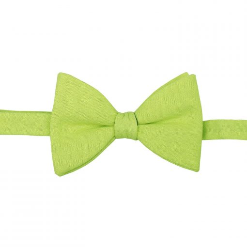 Lime Green Hopsack Linen Butterfly Self Tie Bow Tie