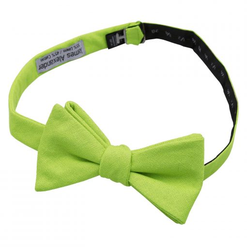 Lime Green Hopsack Linen Thistle Self Tie Bow Tie