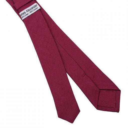 Plum Hopsack Linen Skinny Tie