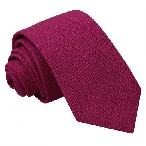 Plum Hopsack Linen Slim Tie