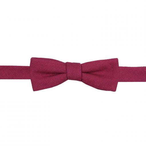 Plum Hopsack Linen Batwing Self Tie Bow Tie