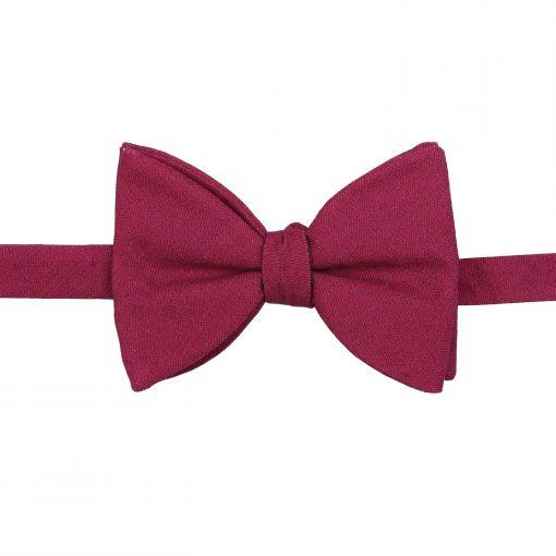 Plum Hopsack Linen Butterfly Self Tie Bow Tie
