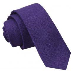 Purple Hopsack Linen Skinny Tie