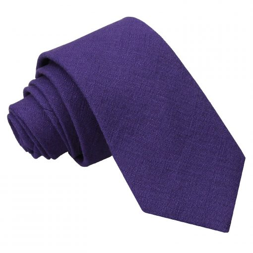 Purple Hopsack Linen Slim Tie
