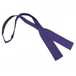Purple Hopsack Linen Batwing Self Tie Bow Tie