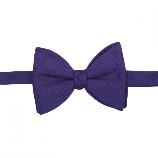 Purple Hopsack Linen Butterfly Self Tie Bow Tie
