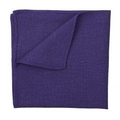 Purple Hopsack Linen Pocket Square
