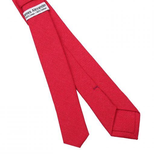 Red Hopsack Linen Skinny Tie
