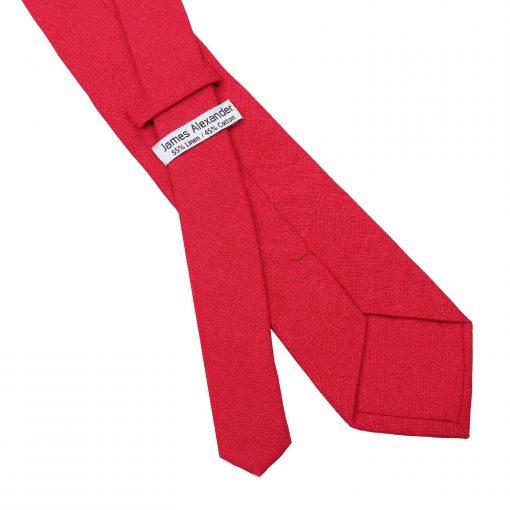 Red Hopsack Linen Classic Tie
