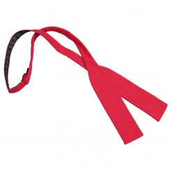 Red Hopsack Linen Batwing Self Tie Bow Tie