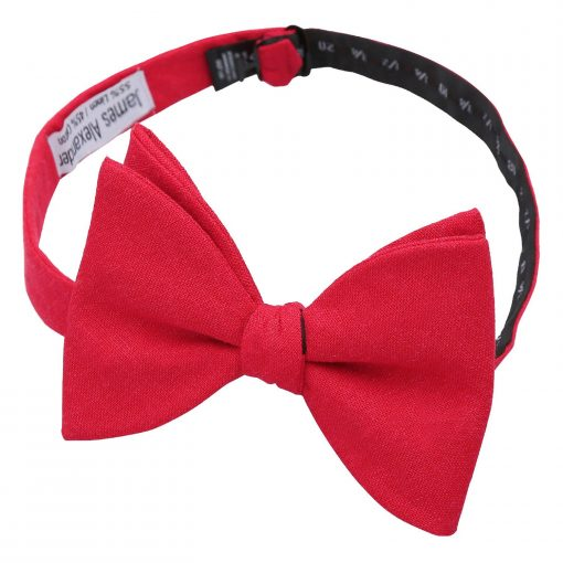 Red Hopsack Linen Butterfly Self Tie Bow Tie