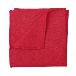 Red Hopsack Linen Pocket Square