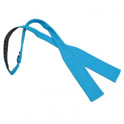 Turquoise Blue Hopsack Linen Batwing Self Tie Bow Tie