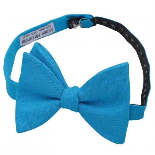Turquoise Blue Hopsack Linen Butterfly Self Tie Bow Tie
