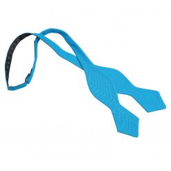 Turquoise Blue Hopsack Linen Pointed Self Tie Bow Tie