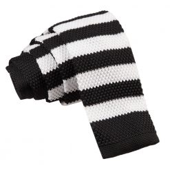 Black & White Striped Knitted Skinny Tie
