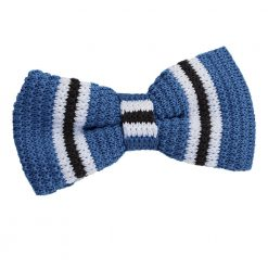 Blue with Black & White Thin Stripe Knit Knitted Pre-Tied Bow Tie