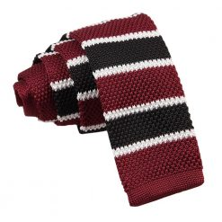 Burgundy, Black with White Thin Stripe Knitted Skinny Tie