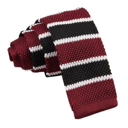 Burgundy, Black with White Thin Stripe Knitted Skinny Tie