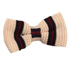 Cream with Burgundy & Navy Thin Stripe Knit Knitted Pre-Tied Bow Tie