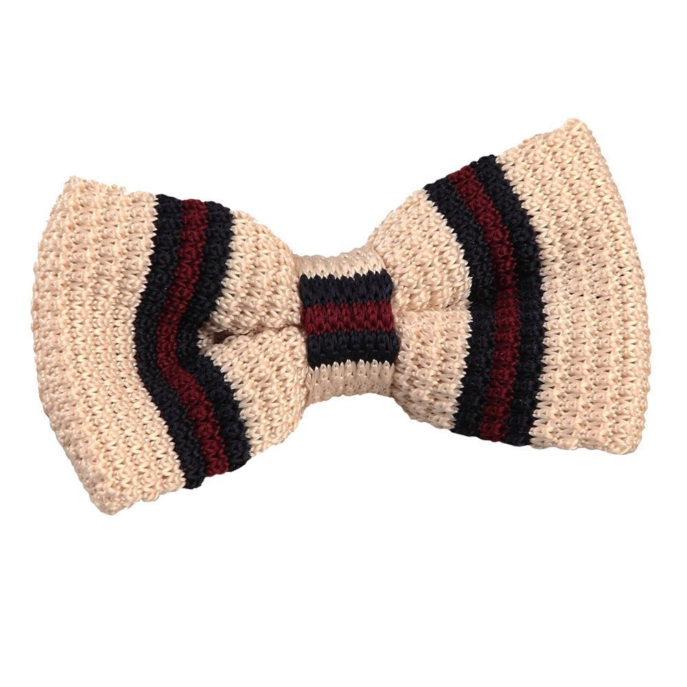 3abc8812c705 Men's Knitted Cream with Burgundy & Navy Thin Stripe Bow Tie
