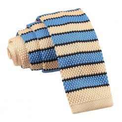 Cream, Light Blue with Black Thin Stripe Knitted Skinny Tie