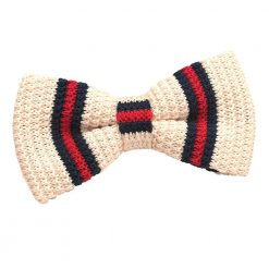 Cream with Red & Navy Thin Stripe Knit Knitted Pre-Tied Bow Tie