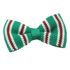 Green with Burgundy & White Thin Stripe Knit Knitted Pre-Tied Bow Tie