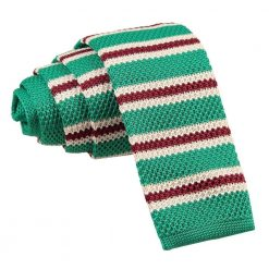 Green with Burgundy & White Thin Stripe Knitted Skinny Tie